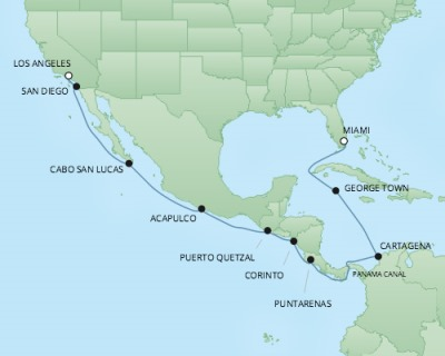 REGENT Cruises RSSC Regent Seven Mariner Map Detail Miami, FL, United States to Los Angeles, CA, United States March 17 April 2 2018 - 17 Days