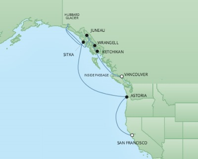 Cruises RSSC Regent Seven Mariner Map Detail San Francisco, CA United States to Vancouver, Canada May 6-16 2018 - 10 Days