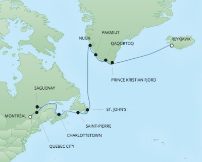 Cruises RSSC Regent Seven Navigator Map Detail Montreal, Canada to Reykjavík, Iceland August 18 September 1 2017 - 14 Days