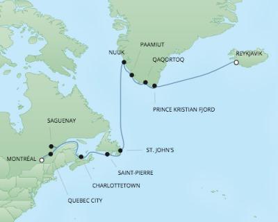Regent/Radisson Luxury Cruises RSSC Regent Seven Navigator Map Detail Montreal, Canada to Reykjavík, Iceland August 18 September 1 2017 - 14 Days