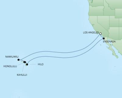 Regent/Radisson Luxury Cruises RSSC Regent Seven Navigator Map Detail Los Angeles, CA, United States to Los Angeles, CA, United States December 11-29 2017 - 18 Days