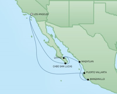 Cruises RSSC Regent Seven Navigator Map Detail Los Angeles, CA, United States to Los Angeles, CA, United States December 29 2017 January 8 2018 - 10 Days