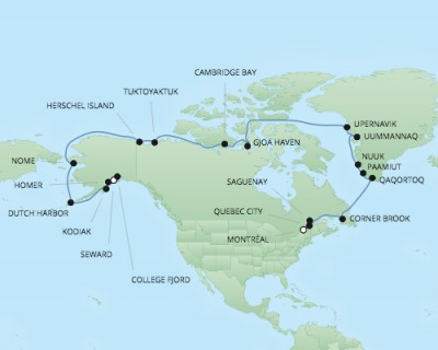 Regent/Radisson Luxury Cruises RSSC Regent Seven Navigator Map Detail Anchorage (Seward), AK to Montreal, QC, Canada July 19 August 18 2017 - 30 Days