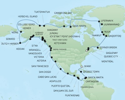 Regent/Radisson Luxury Cruises RSSC Regent Seven Navigator Map Detail Miami, Florida to Montreal, QC, Canada June 17 August 18 2017 - 62 Days