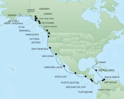 Regent/Radisson Luxury Cruises RSSC Regent Seven Navigator Map Detail Miami, Florida to Anchorage (Seward), AK June 17 July 19 2022 - 32 Days