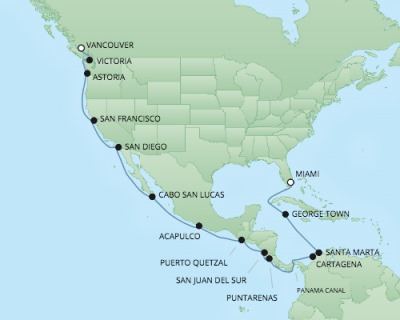 Cruises RSSC Regent Seven Navigator Map Detail Miami, Florida to Vancouver, BC, Canada June 17 July 9 2017 - 22 Days