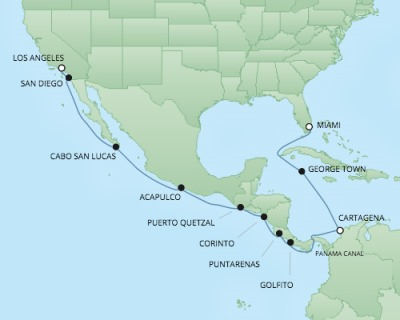 Cruises RSSC Regent Seven Navigator Map Detail Miami, FL, United States to Los Angeles, CA, United States November 25 December 11 2017 - 16 Days