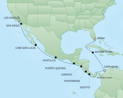 Regent/Radisson Luxury Cruises RSSC Regent Seven Navigator Map Detail Miami, FL, United States to Los Angeles, CA, United States November 25 December 11 2017 - 16 Days