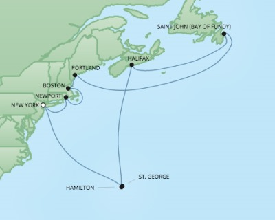 Cruises RSSC Regent Seven Navigator Map Detail New York, NY, United States to New York, NY, United States October 17-29 2017 - 12 Days