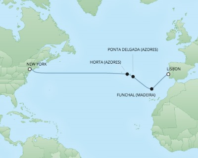 Regent/Radisson Luxury Cruises RSSC Regent Seven Navigator Map Detail Lisbon, Portugal to New York, NY, United States October 6-17 2017 - 11 Days