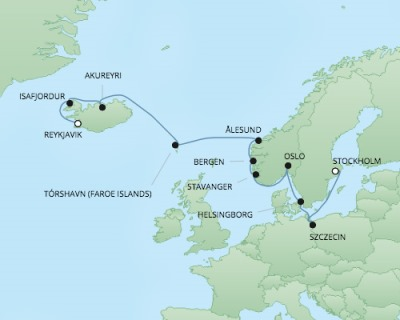 Just Regent Seven Seas Cruises Cruises RSSC Regent Seven Navigator Map Detail Reykjavík, Iceland to Stockholm, Sweden September 1-14 2024 - 14 Days