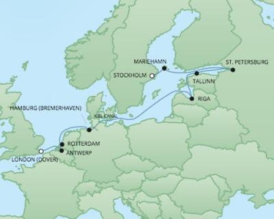 Regent/Radisson Luxury Cruises RSSC Regent Seven Navigator Map Detail Stockholm, Sweden to Dover, United Kingdom September 14-26 2022 - 12 Days