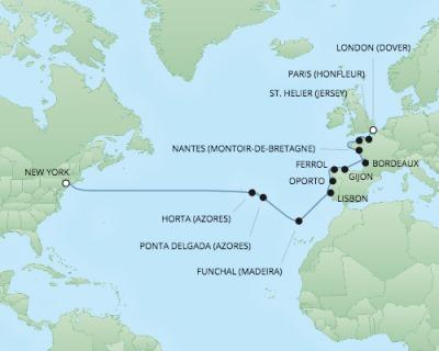 Regent/Radisson Luxury Cruises RSSC Regent Seven Navigator Map Detail Dover, United Kingdom to New York, NY, United States September 26 October 17 2017 - 21 Days