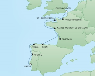 Regent/Radisson Luxury Cruises RSSC Regent Seven Navigator Map Detail Dover, United Kingdom to Lisbon, Portugal September 26 October 6 2022 - 10 Days