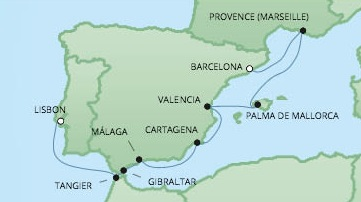 Just Regent Seven Seas Cruises Cruises RSSC Regent Seven Voyager Map Detail Barcelona, Spain to Lisbon, Portugal August 11-20 2024 - 9 Days