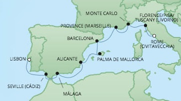 Just Regent Cruises Cruises RSSC Regent Seven Voyager Map Detail Lisbon, Portugal to Civitavecchia, Italy August 20-29 2024 - 9 Days