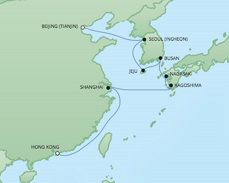 Regent/Radisson Luxury Cruises RSSC Regent Seven Voyager Map Detail Hong Kong, China to Tianjin, China December 17-29 2022 - 12 Days