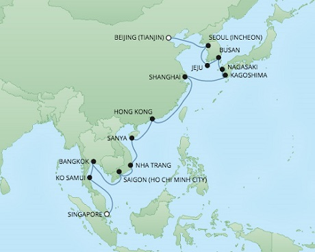 Cruises RSSC Regent Seven Voyager Map Detail Singapore, Singapore to Tianjin, China December 5-29 2017 - 24 Days