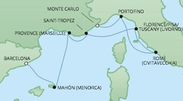 Just Regent Cruises Cruises RSSC Regent Seven Voyager Map Detail Barcelona, Spain to Monte Carlo, Monaco July 18-25 2017 - 7 Days
