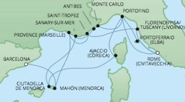 Just Regent Cruises Cruises RSSC Regent Seven Voyager Map Detail Barcelona, Spain to Civitavecchia, Italy July 18 August 1 2017 - 14 Days