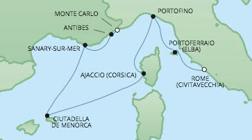 Cruises RSSC Regent Seven Voyager Map Detail Monte Carlo, Monaco to Civitavecchia, Italy July 25 August 1 2017 - 7 Days