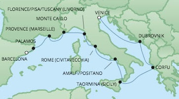 Cruises RSSC Regent Seven Voyager Map Detail Venice, Italy to Barcelona, Spain July 8-18 2017 - 10 Days