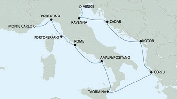 Just Regent Cruises Cruises RSSC Regent Seven Voyager Map Detail Venice, Italy to Monte Carlo, Monaco June 1-11 2017 - 10 Days