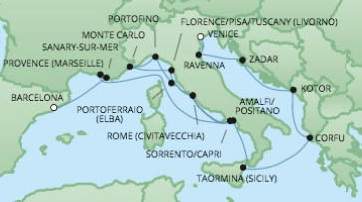 Cruises RSSC Regent Seven Voyager Map Detail Venice, Italy to Barcelona, Spain June 1-18 2017 - 17 Days
