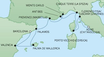 Just Regent Seven Seas Cruises Cruises RSSC Regent Seven Voyager Map Detail Barcelona, Spain to Civitavecchia, Italy June 18-28 2024 - 10 Days