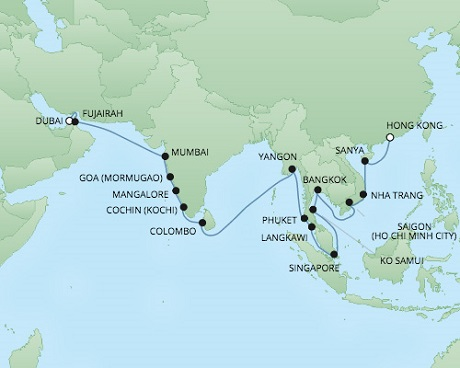 Cruises RSSC Regent Seven Voyager Map Detail Dubai, United Arab Emirates to Hong Kong, China November 14 December 17 2017 - 34 Days