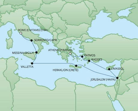 Just Regent Cruises Cruises RSSC Regent Seven Voyager Map Detail Piraeus, Greece to Civitavecchia, Italy October 15-27 2017 - 12 Days
