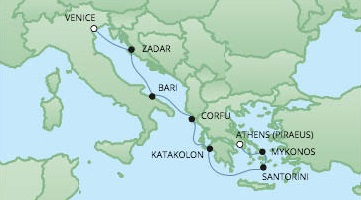 Cruises RSSC Regent Seven Voyager Map Detail Venice, Italy to Piraeus, Greece October 8-15 2017 - 7 Days