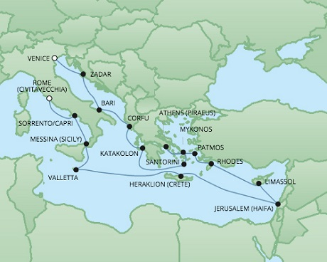 Just Regent Seven Seas Cruises Cruises RSSC Regent Seven Voyager Map Detail Venice, Italy to Civitavecchia, Italy October 8-27 2024 - 19 Days