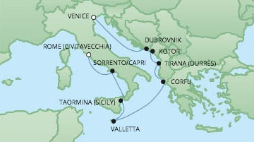 Cruises RSSC Regent Seven Voyager Map Detail Civitavecchia, Italy to Venice, Italy September 28 October 8 2017 - 10 Days