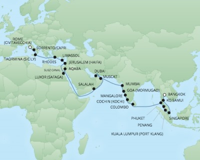 REGENT Cruises RSSC Regent Seven Voyager Map Detail Laem Chabang, Thailand to Civitavecchia, Italy April 22 June 1 2018 - 40 Days