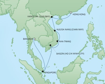 REGENT Cruises RSSC Regent Seven Voyager Map Detail Hong Kong, China to Laem Chabang, Thailand April 8-22 2018 - 14 Days