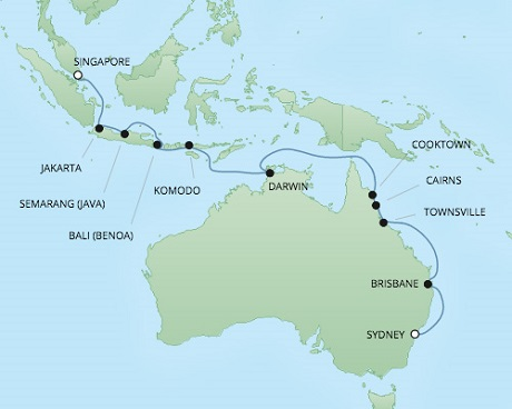 Cruises RSSC Regent Seven Voyager Map Detail Singapore, Singapore to Sydney, Australia February 2-20 2018 - 18 Days