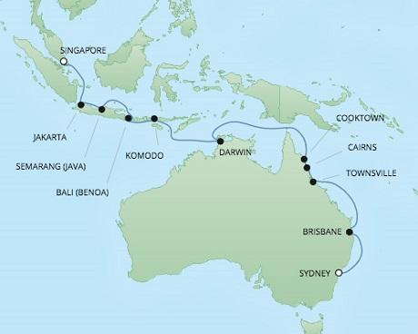 Regent/Radisson Luxury Cruises RSSC Regent Seven Voyager Map Detail Singapore, Singapore to Sydney, Australia February 2-20 2022 - 18 Days