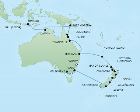 Regent/Radisson Luxury Cruises RSSC Regent Seven Voyager Map Detail Sydney, Australia to Benoa (Bali), Indonesia February 20 March 24 2022 - 32 Days