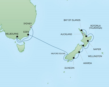 Regent/Radisson Luxury Cruises RSSC Regent Seven Voyager Map Detail Sydney, Australia to Auckland, New Zealand February 20 March 6 2018 - 14 Days