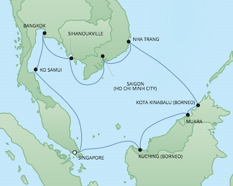 Cruises RSSC Regent Seven Voyager Map Detail Singapore, Singapore to Singapore, Singapore January 17 February 2 2018 - 16 Days