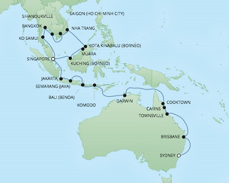 REGENT Cruises RSSC Regent Seven Voyager Map Detail Singapore, Singapore to Sydney, Australia January 17 February 20 2018 - 34 Days