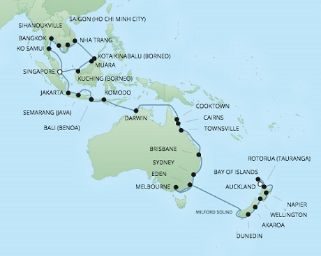 REGENT Cruises RSSC Regent Seven Voyager Map Detail Singapore, Singapore to Auckland, New Zealand January 17 March 6 2018 - 38 Days