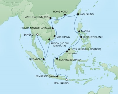 Cruises RSSC Regent Seven Voyager Map Detail Benoa (Bali), Indonesia to Laem Chabang, Thailand March 24 April 22 2018 - 29 Days
