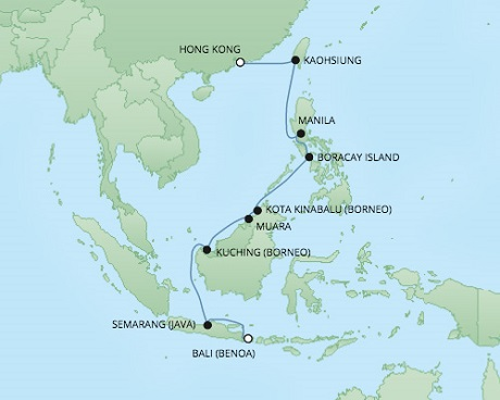 REGENT Cruises RSSC Regent Seven Voyager Map Detail Benoa (Bali), Indonesia to Hong Kong, China March 24 April 8 2021 - 15 Days