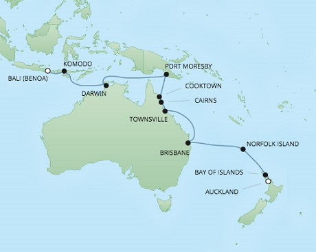Cruises RSSC Regent Seven Voyager Map Detail Auckland, New Zealand to Benoa (Bali), Indonesia March 6-24 2018 - 18 Days
