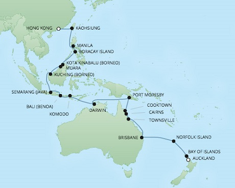 Just Regent Cruises Cruises RSSC Regent Seven Voyager Map Detail Auckland, New Zealand to Hong Kong, China March 6 April 8 2018 - 33 Days