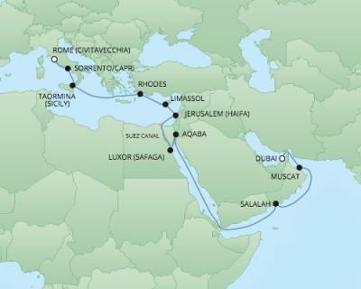 Regent/Radisson Luxury Cruises RSSC Regent Seven Voyager Map Detail Dubai, United Arab Emirates to Civitavecchia, Italy May 12 June 1 2018 - 20 Days