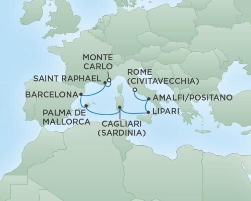 REGENT Cruises RSSC Regent Seven Voyager Map Detail Rome (Civitavecchia), Italy to Monte Carlo, Monaco August 11-18 2018 - 7 Days