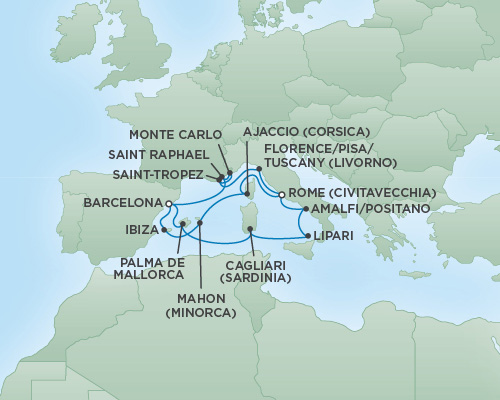 Cruises RSSC Regent Seven Voyager Map Detail Rome (Civitavecchia), Italy to Barcelona, Spain August 11-25 2018 - 14 Days